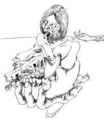 Skizze, Zähne, Zeichnung, Tuschmalerei