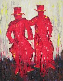 Acrylmalerei, Malerei, Figural, Rot