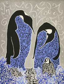 Pinguin, Acrylmalerei, Figural, Malerei