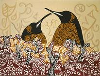 Braun, Figural, Acrylmalerei, Pinguin
