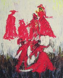 Acrylmalerei, Rot, Malerei, Figural