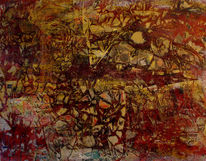 Mischtechnik, Gelb, Malerei, Rot