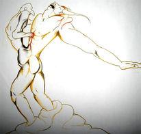 Skizze, Kampf, Mann, Malerei