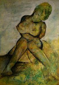 Sitzen, Frau, Malerei, Grün