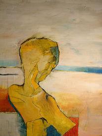Malerei, Mann, Junge, Gelb