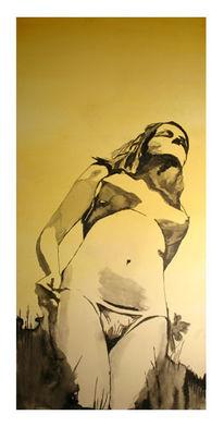 Frau, Tusche, Malerei, Gelb