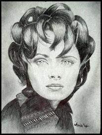 Zeichnung, Schwarz weiß, Portrait, Menschen