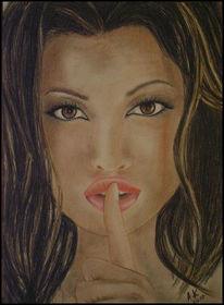 Zeichnung, Menschen, Portrait, Buntstiftzeichnung