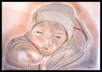 Baby, Zeichnung, Menschen, Buntstiftzeichnung