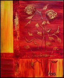 Blumen, Gelb, Rot, Gold