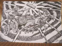 Wagen, Zeichnung, Surreal, Streitwagen