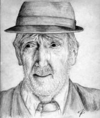 Alter mann, Portrait, Gesicht, Bleistiftzeichnung