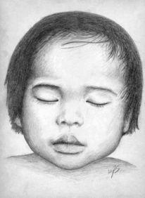 Portrait, Asiatisch, Baby, Zeichnung
