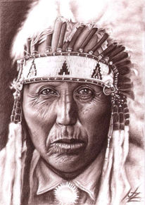 Cherokee, Gesicht, Amerikanisch, Kohlezeichnung