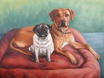 Ölmalerei, Hundeportrait, Tiermalerei, Rhodesian