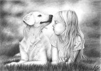 Freunde, Kohlezeichnung, Hund, Zeichnung