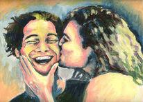 Paar, Malerei, Kuss, Figural