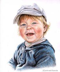 Junge, Zeichnung, Gesicht, Buntstiftzeichnung