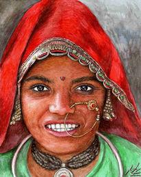 Malerei, Inderin, Indisch, Indien