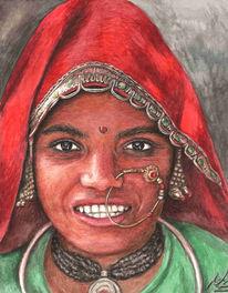 Portrait, Gesicht, Rot, Nordinderin