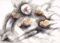 Abstrakt, Federzeichnung, Zeichnung, Aquarellmalerei