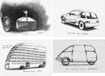 Karikatur, Auto, Federzeichnung, Zeichnung