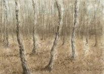 Herbst, Baum, Pastellmalerei, Malerei