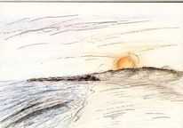 Buntstiftzeichnung, Sonne, Dänemark, Skizze