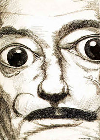 Federzeichnung, Dalí, Zeichnung, Blick