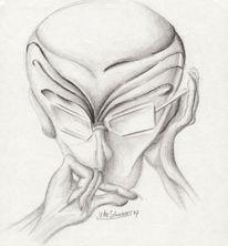 Bleistiftzeichnung, Kopf, Zeichnung, Menschen