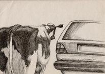 Fernweh, Auto, Zeichnung, Feder