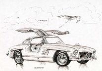 Flügel, Zeichnung, Auto, Federzeichnung