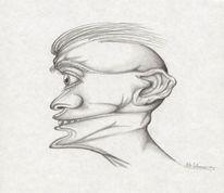 Bleistiftzeichnung, Kopf, Menschen, Zeichnung