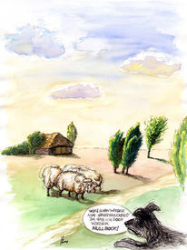 Cartoon, Heide, Karikatur, Aquarellmalerei