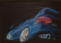Zeichnung, Bewegung, Auto, Buntstiftzeichnung