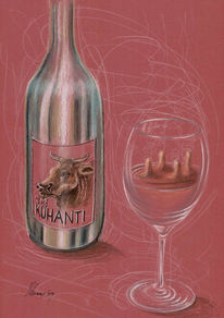 Cartoon, Kuh, Wein, Chianti