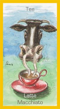 Kuh, Malerei, Tee, Lattemacciato