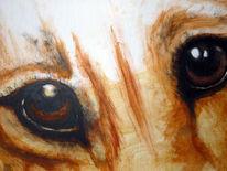Tierschutz, Blick, Acrylmalerei, Figural