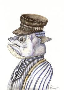 Mütze, Bleistiftzeichnung, Fisch, Prinz