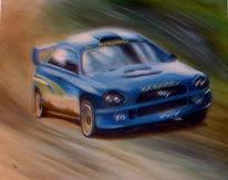 Bewegungsunschärfe, Rallye, Acrylmalerei, Auto
