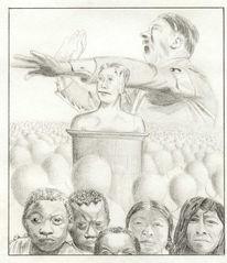 Menschen, Bleistiftzeichnung, Illustration, Rassenwahn