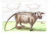 Schaf, Cartoon, Tiere, Aquarellmalerei