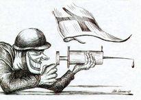 Tuschmalerei, Feder, Bundeswehr, Karikatur