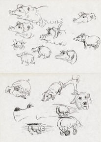 Skizze, Glück, Tuschmalerei, Schweinehundüberwinden