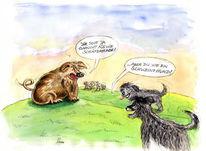 Schäferhund, Zeichnung, Tusche, Aquarellmalerei