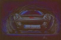 Auto, Malerei, Zeichnung, Buntstiftzeichnung