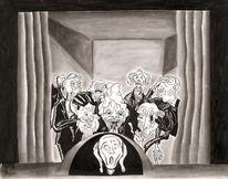 Kohlezeichnung, Publikum, Karikatur, Schrei