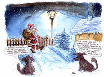 Malerei, Hund, Tusche, Weihnachtsmann