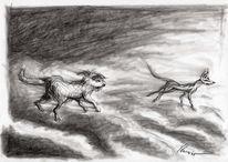 Hund, Skizze, Pastellmalerei, Illustration