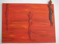 Rot, Afrika, Malerei, Acrylmalerei